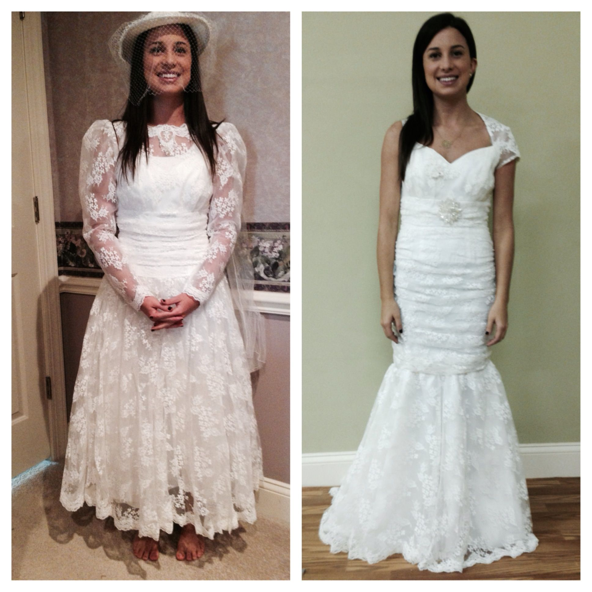 Unique re designed wedding dress made from vintage gown
