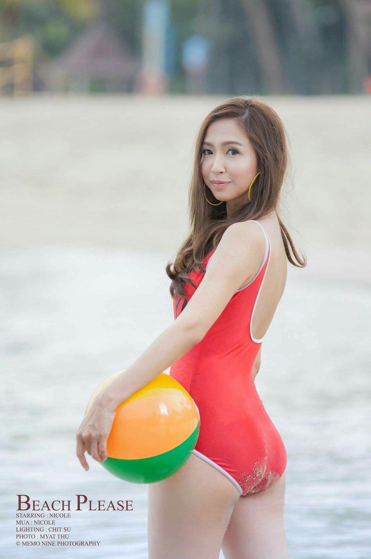 Myanmar model beach photos
