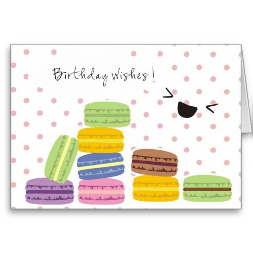 Birthday Wishes - Macaroons Design Greeting Card from Zazzle.com