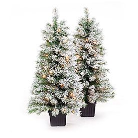 35 pre lit artificial urn christmas trees white flocking with clear lights at big lots - Big Lots Pre Lit Christmas Trees