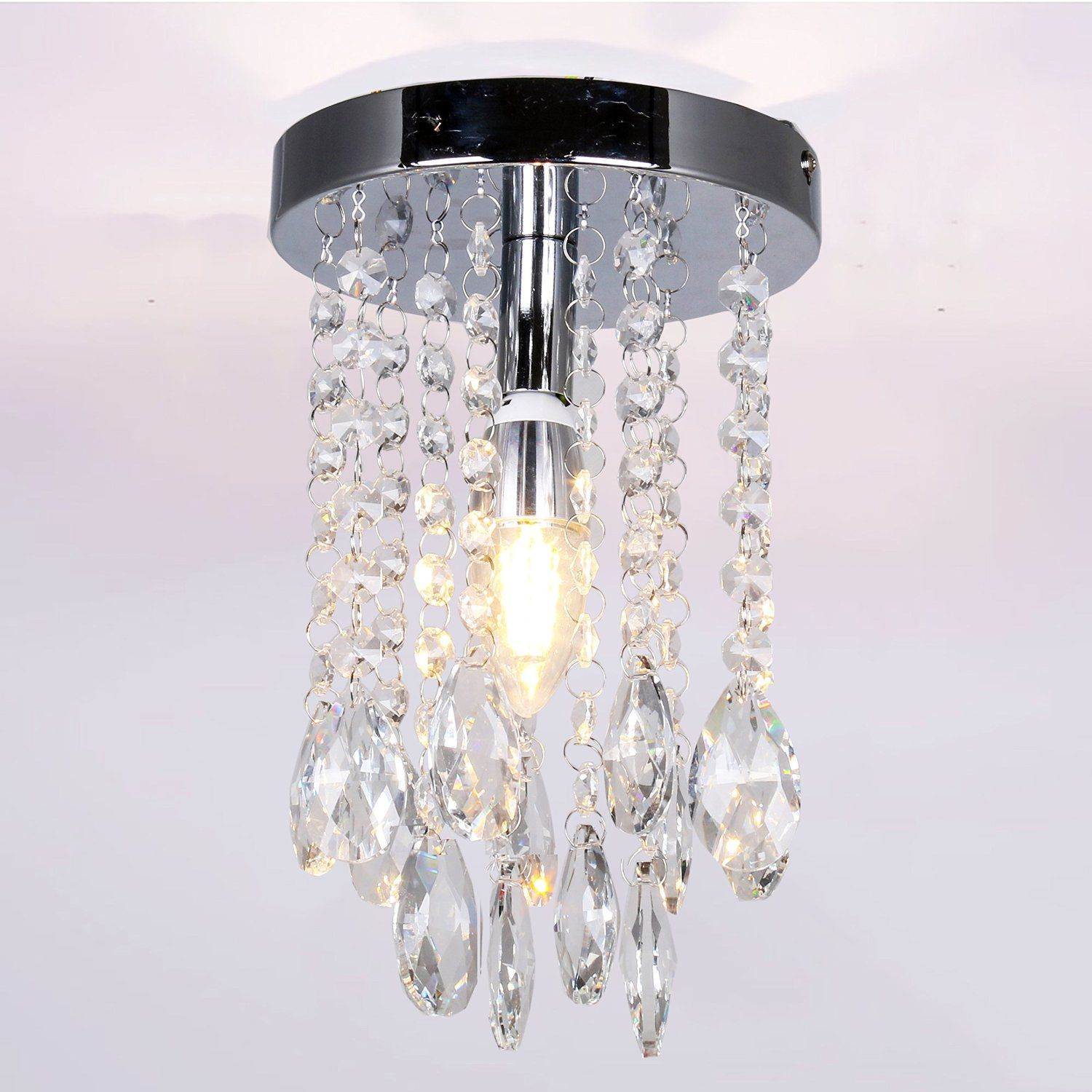 Mini chrome crystal chandelier for girls room teardrop pendant lamp mini chrome crystal chandelier for girls room teardrop pendant lamp flush mount ceiling lamp fixture aloadofball Images