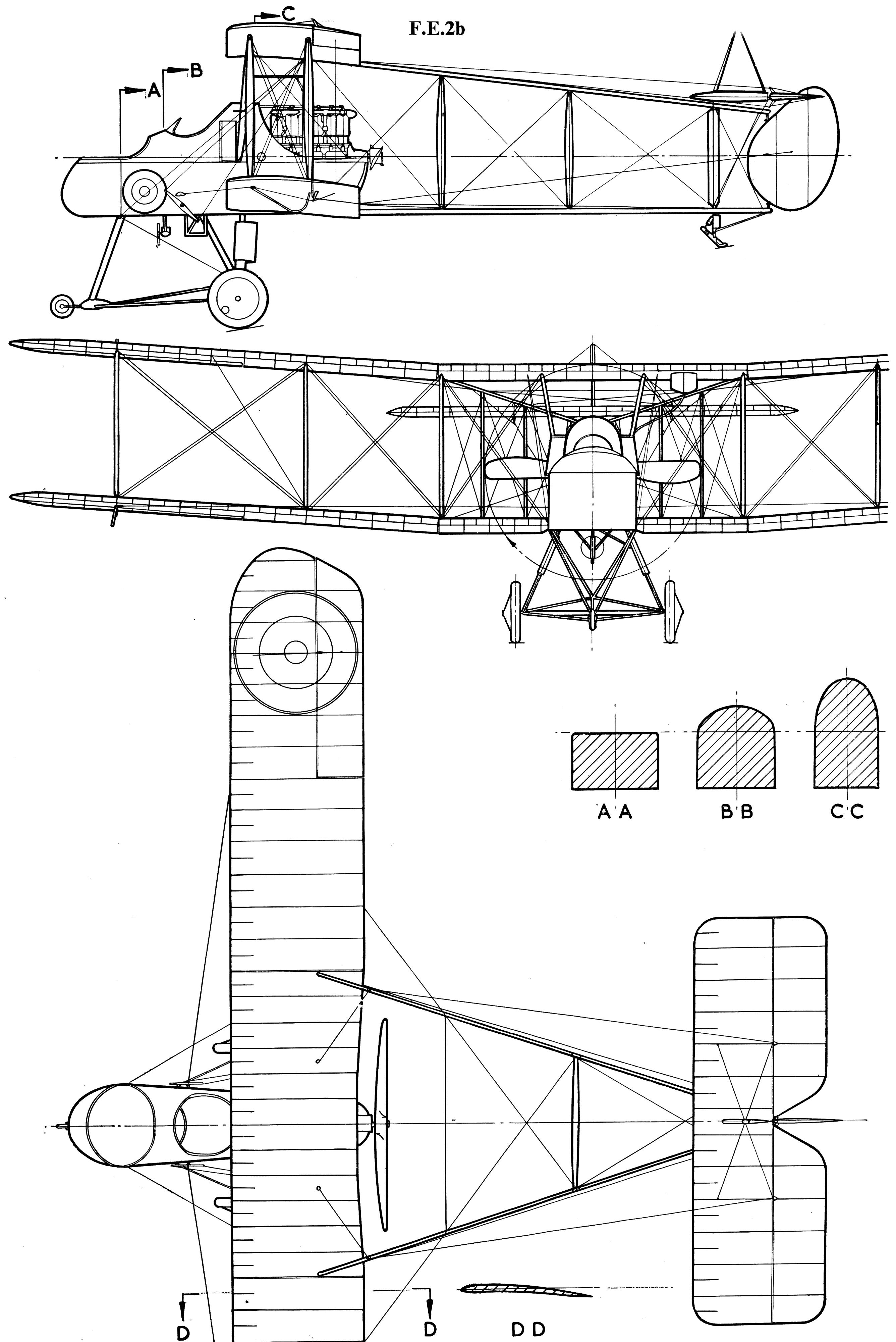 Royal Aircraft Factory F E 2 Blueprint