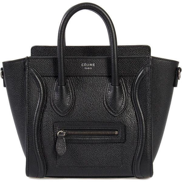 b5cc59ef102a Celine Nano Luggage Black Baby Drummed Calfskin Bag ( 1