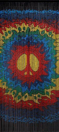 Bamboo Beaded Door Curtain Choose Your Design Peace Signs