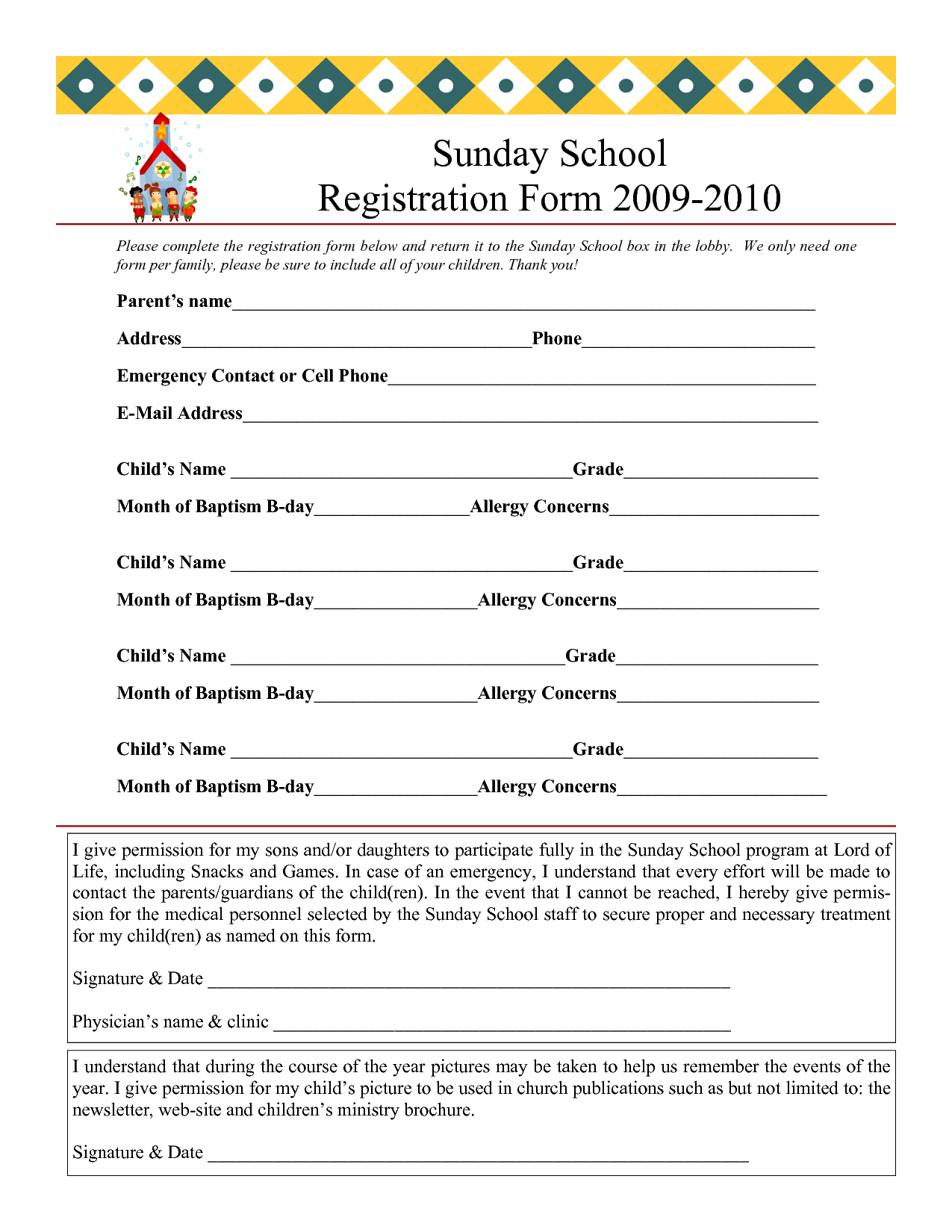 Sunday School Registration Form 2009 2010  Enrollment Form Format