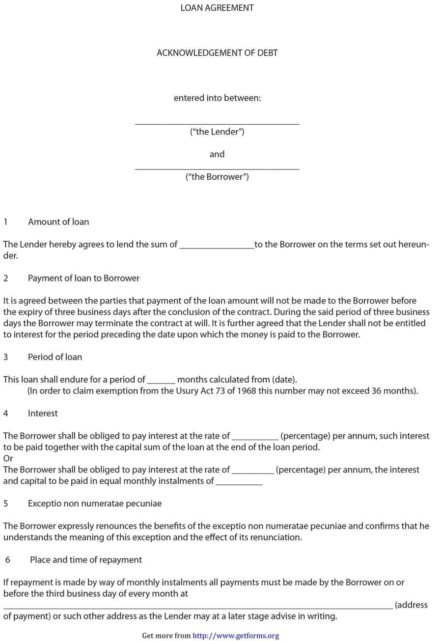 Image result for lending money contract sample