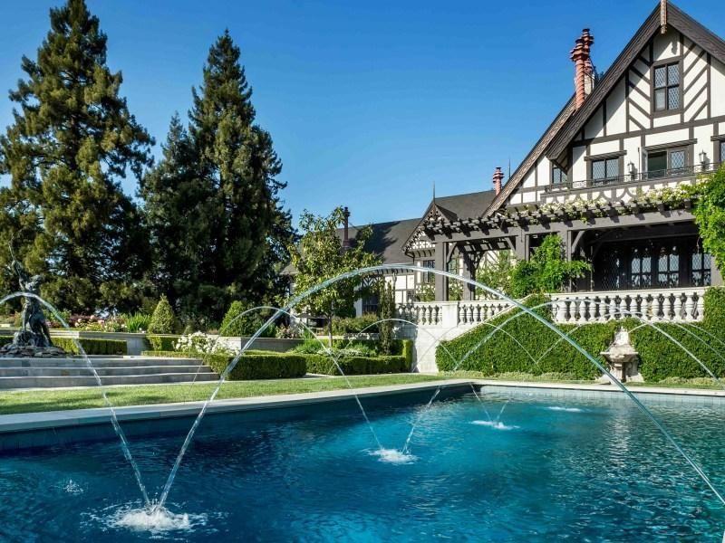 Opulent german tudor estate with pool fountains los - Jubilee hills international swimming pool ...