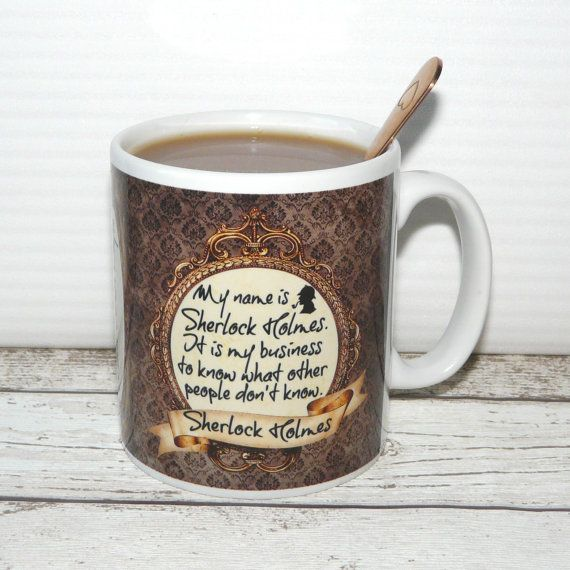 """Sherlock Holmes Mug, """"My name is Sherlock Holmes, it is my business to know …"""", 2 sided vintage style design"""", Literary Quote, Book Mug"""