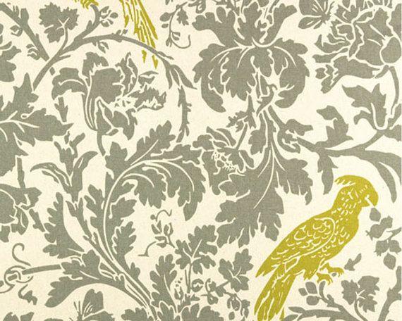 Drapery Fabric, Upholstery Fabric, Golden/Mustard Yellow Birds Fabric, GrayFlorals, Decorative Fabric, Drapery Fabric Yardage, 56/58'' Width #birdfabric