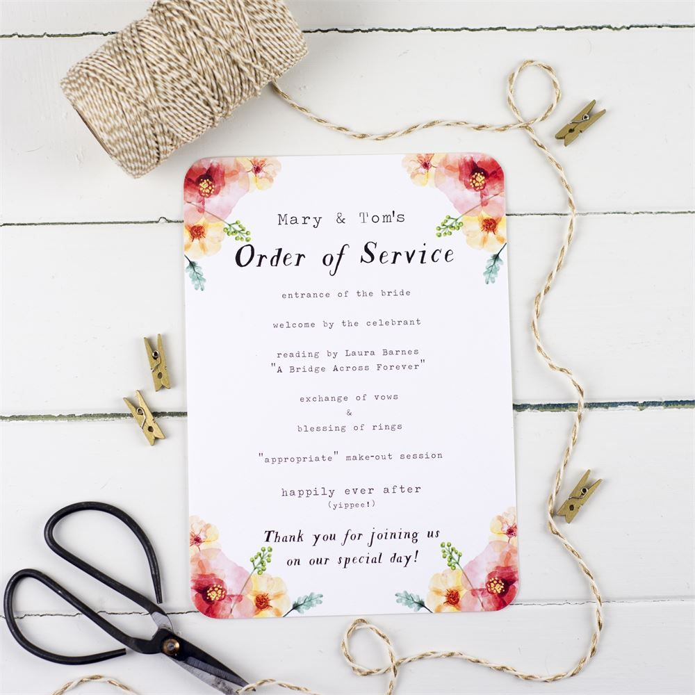 Small Ceremony Big Reception Invitations: Watercolour Wilderness Wedding Order Of Service