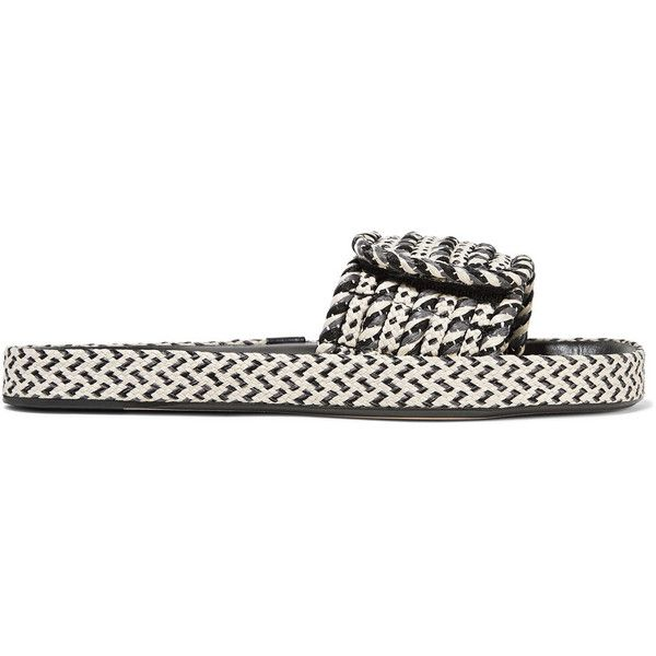 Isabel Marant Étoile Enki woven and leather slides (20,055 DOP) ❤ liked on Polyvore featuring shoes, grey, woven shoes, adjustable shoes, strap shoes, gray shoes and leather strap shoes