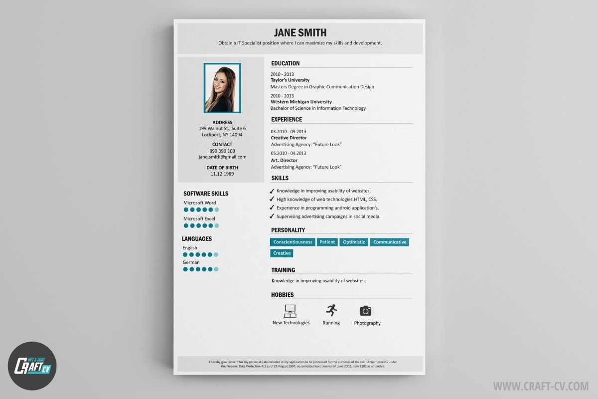 Professional Cv Template With Images Downloadable Resume