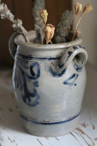 Antique-Salt-Glaze-Pottery-Crock-4-Cobalt-Blue- & Antique-Salt-Glaze-Pottery-Crock-4-Cobalt-Blue-Prim-Stoneware-German ...