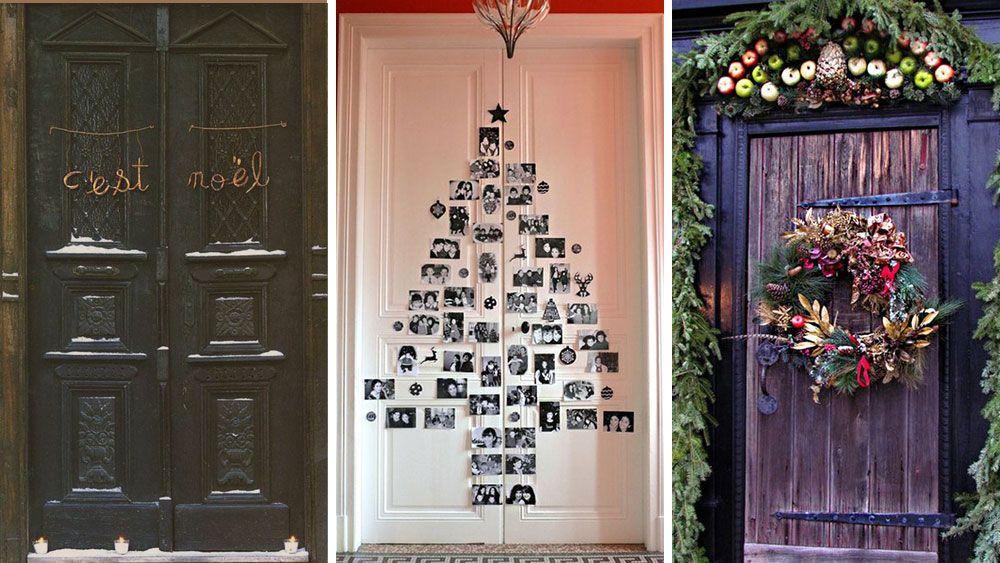 17 ideas para decorar la puerta en navidad porche de for Ideas para decorar puertas