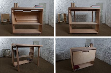 Drop Leaf Desk Small Side Table Converts Into Work Surface