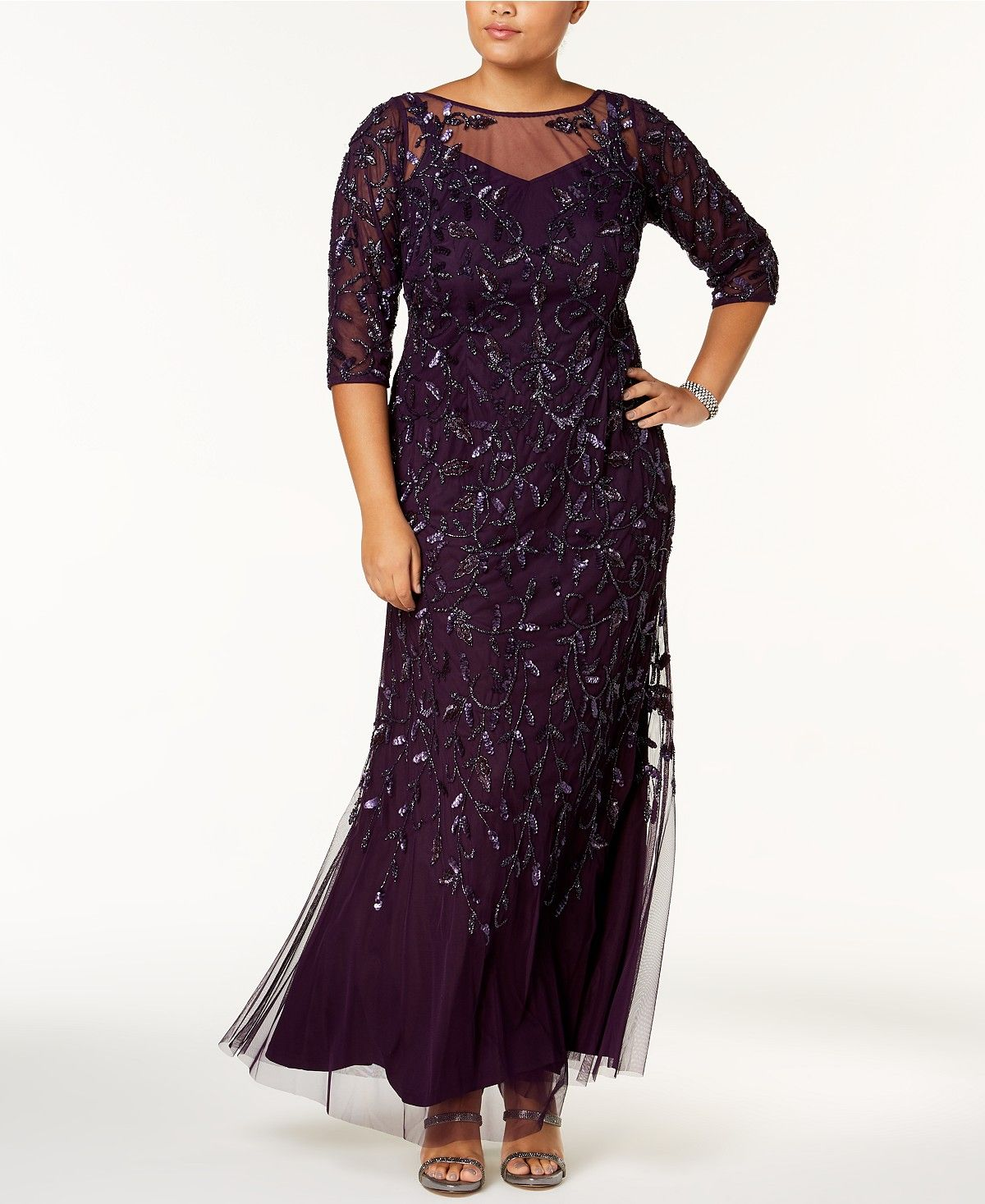 Adrianna papell plus size beaded mesh gown dresses plus sizes