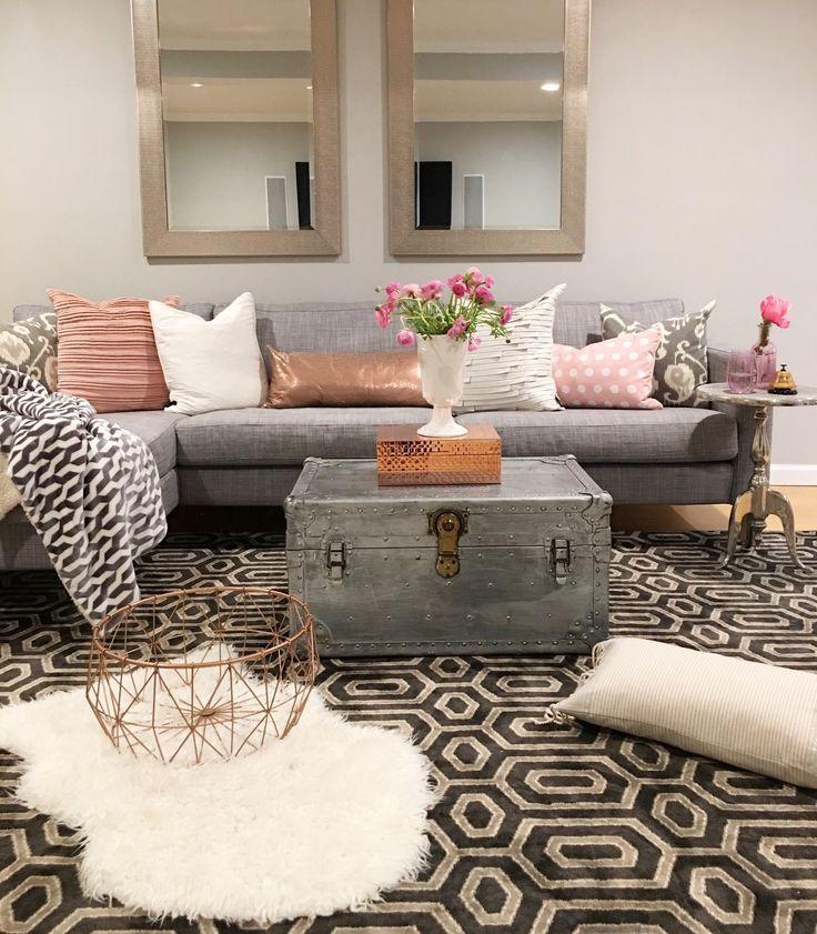 Modern Glam Living Room Decorating Ideas 19: Modern Boho Basement - Crazy Chic Design