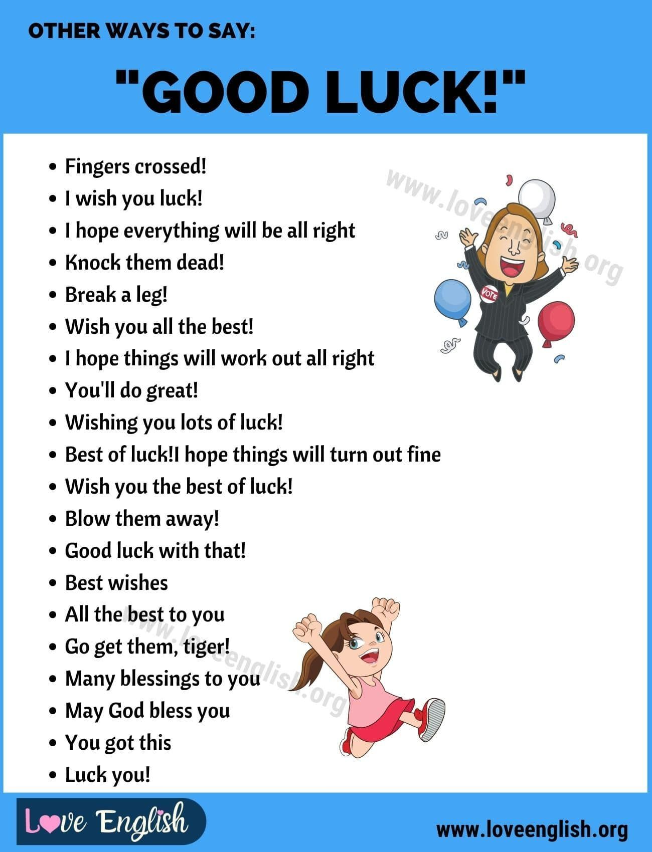 Good Luck 30 Clever Ways To Say Good Luck In English Love English Essay Writing Skills Learn English Words Other Ways To Say