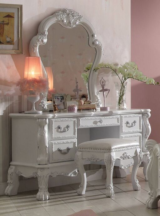 3 pc Dresden collection antique white finish wood bedroom make up dressing  vanity with mirror and - 3 Pc Dresden Collection Antique White Finish Wood Bedroom Make Up