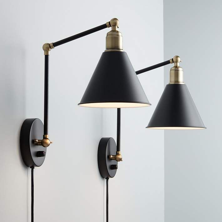 Wray black and antique brass plug in wall lamp set of 2 lamp sets sayner black and antique brass swing arm wall lamp set of 2 9j684 lamps plus mozeypictures Image collections