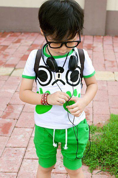 $9.69 Cute Boy's Short Sleeve Pattern  Print T-Shirt + Shorts  Twinset
