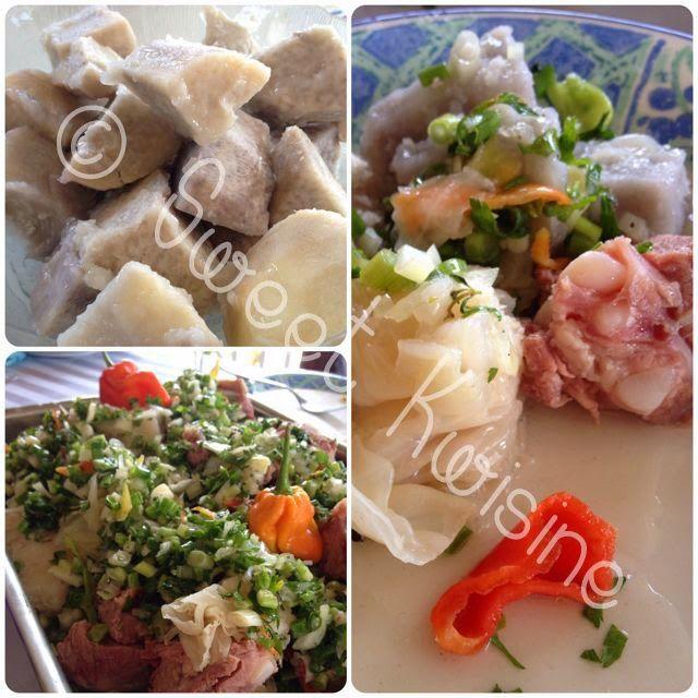 Chou et viande sal e dachine taro sauce au chien cuisine cr ole cuisine martiniquaise - Cuisine martiniquaise facile ...