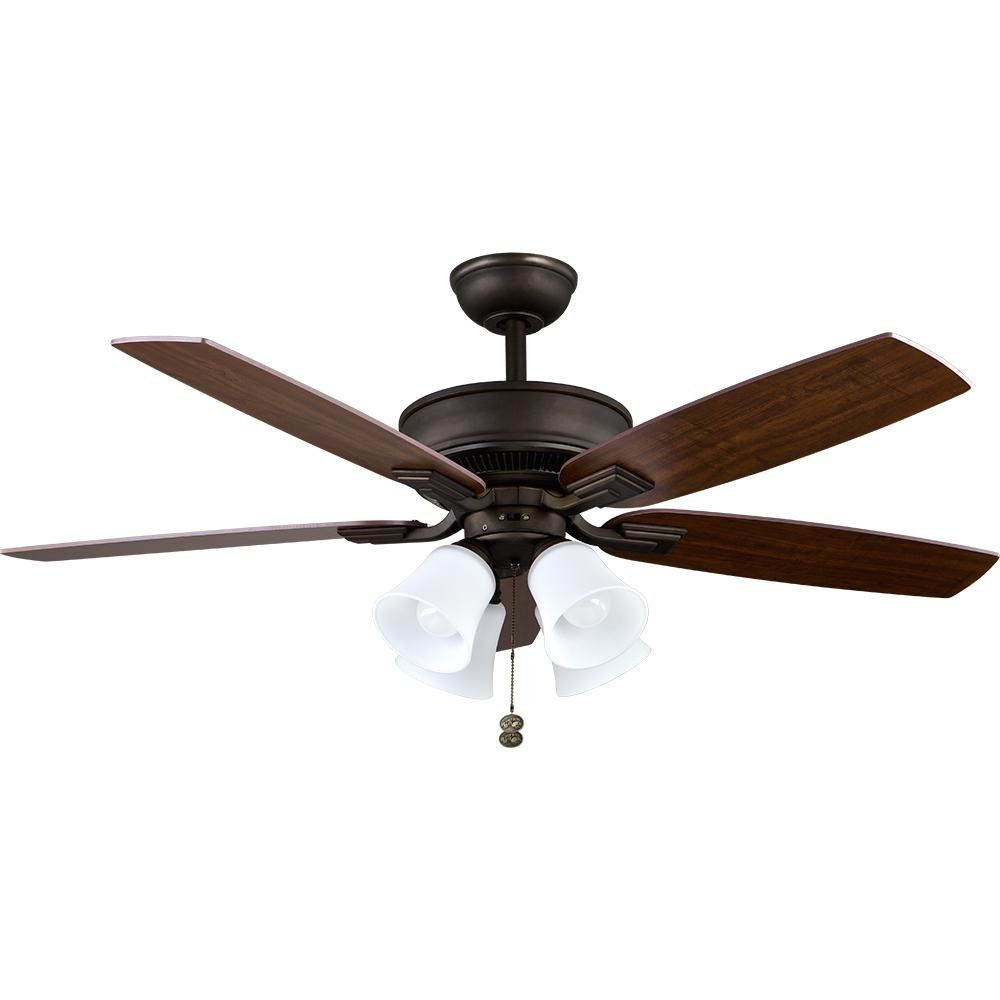 Hampton Bay Devron 52 In Led Indoor Oil Rubbed Bronze Ceiling Fan With Light Kit 57231 The Home Depot 1000 In 2020 Ceiling Fan Fan Light Bronze Ceiling Fan