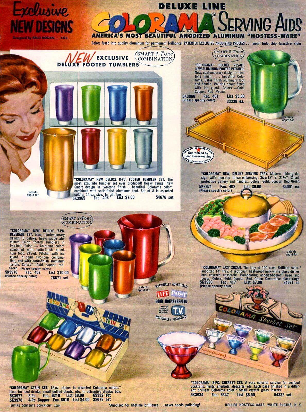7 Pc Setup Vintage Rose Gold Anodized Aluminum Lazy Susan