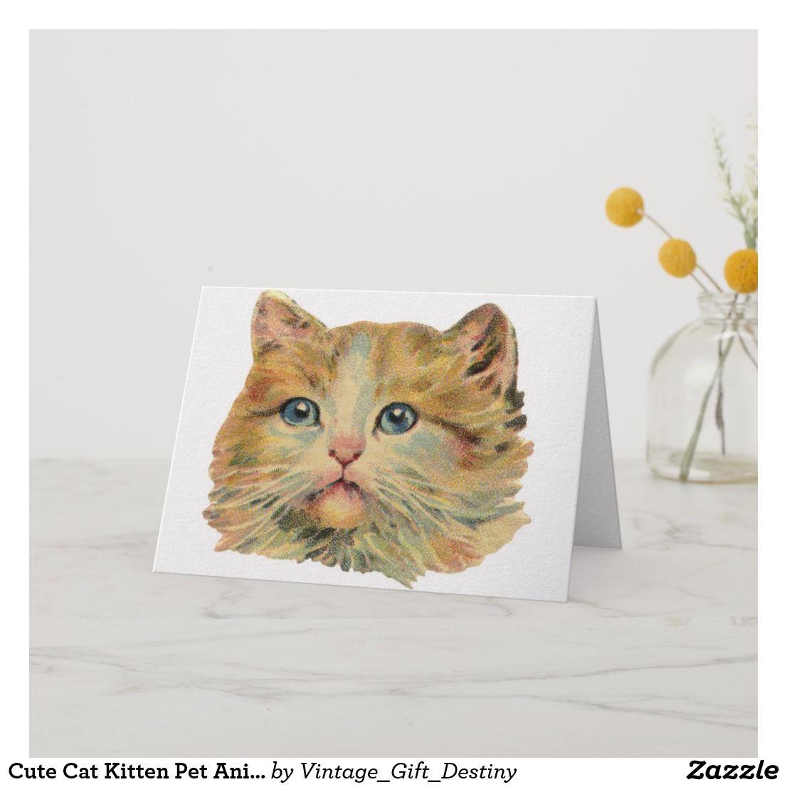 Cute Cat Kitten Pet Animal Feline Vintage Card Zazzle Com Cats And Kittens Cute Cat Vintage Cards