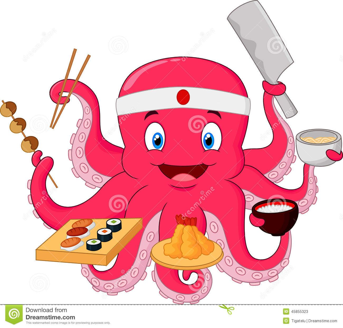 Cartoon octopus chef stock vector image 45855323 for Octopus in cartoon
