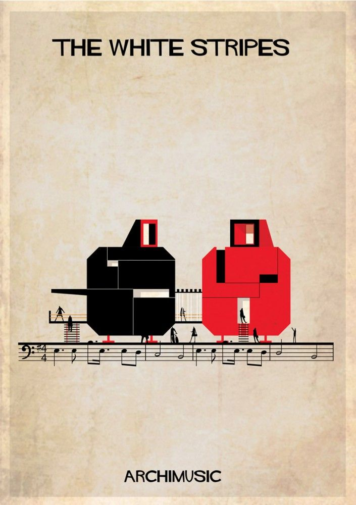 """ARCHIMUSIC: Illustrations Turn Music Into Architecture - Federico Babina / The White Stripes, """"Seven nation army"""""""