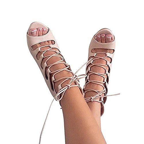 Huiyzuhi Women's Lace Up High Heel Pumps Cut Out Sandal H...