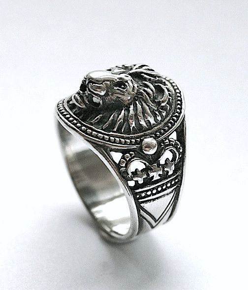 9cee01e3744e4 Lion head ring, Lion head ring for man, Ring for man,Bikers ring ...