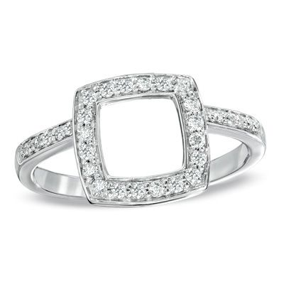 1 4 Ct T W Diamond Cushion Style Halo Solitaire Enhancer
