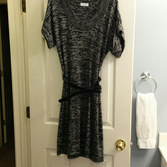 Black and gray sweater dress Gear for the fall or winter. Looks awesome with boots Calvin Klein Dresses