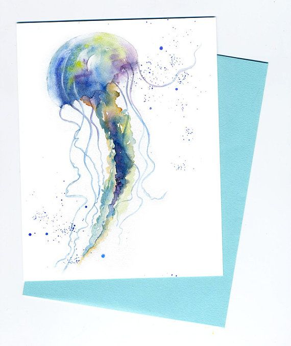 My Jellyfish watercolor printed in my studio on mat photo paper. The note card is 4.25 x 5.5, blank inside, and comes with a sea green envelope.    This card has listed matching 3 x 6 hang able tile.    All cards are also available as 8 x 10 prints, printed on 100 % rag archival art paper.   All Rights Reserved. Copyright 2014