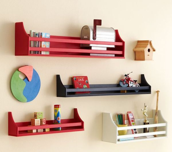 Hymnal style shelves are great for storing books and small toys.