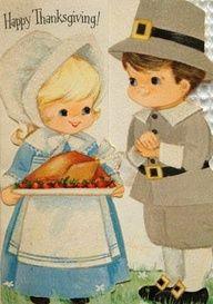 Cute vintage Pilgrims & turkey card