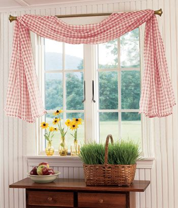 Gingham Sheer Fishtail Swag Darling Country Curtains Curtains