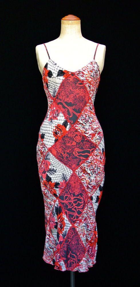 DIANE VON FURSTENBERG bias silk vintage patchworked DRESS in Coral Red/Natural.