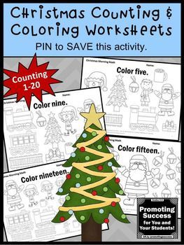 Christmas Math Activities, Kindergarten Math Coloring Pages, Count ...