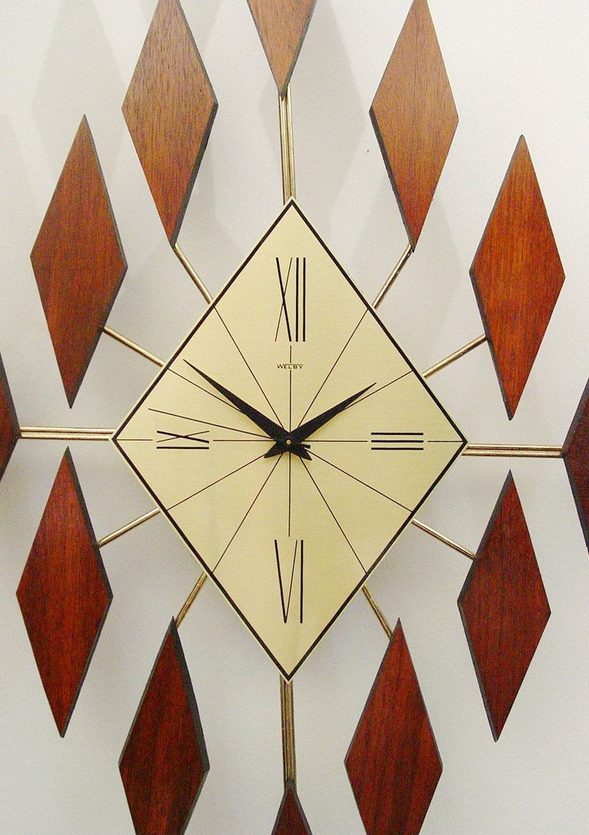 Starburst Clock Of Diamonds Mid Century Modern Sunburst Clock 1960s