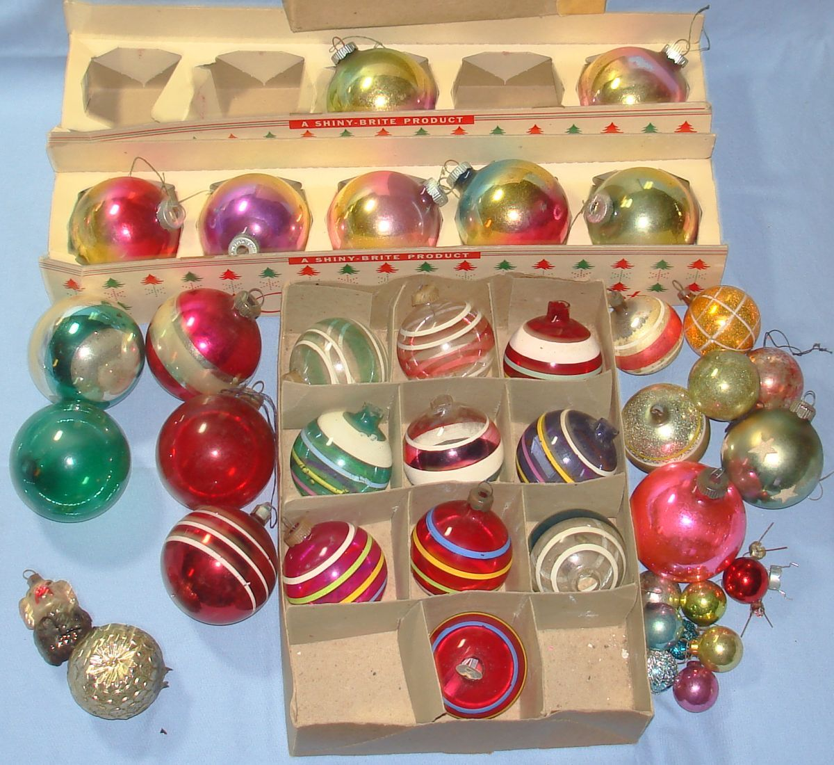 Vintage Shiny Brite Products Christmas Tree Ornaments Round Bulbs
