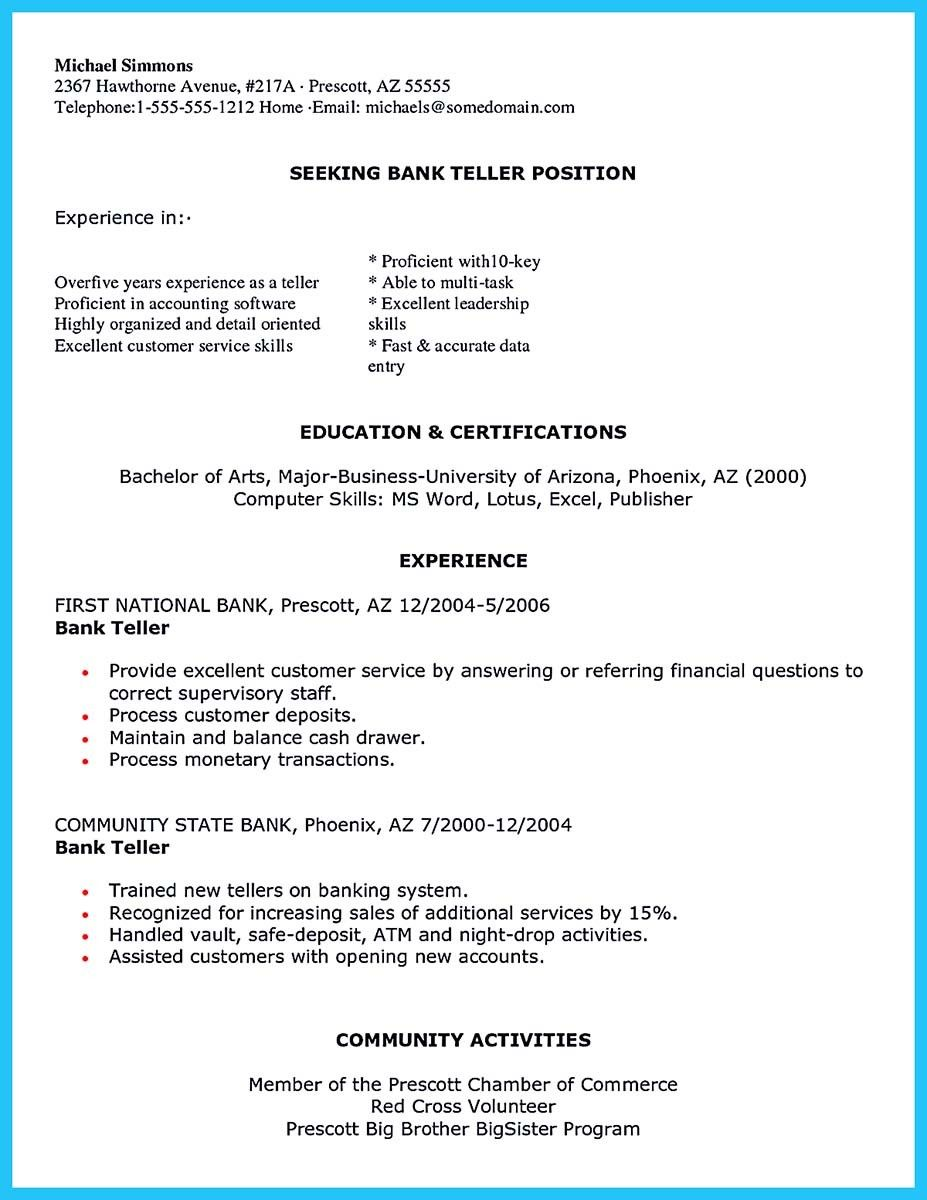 Head Teller Resume Cool Learning To Write From A Concise Bank Teller Resume Sample