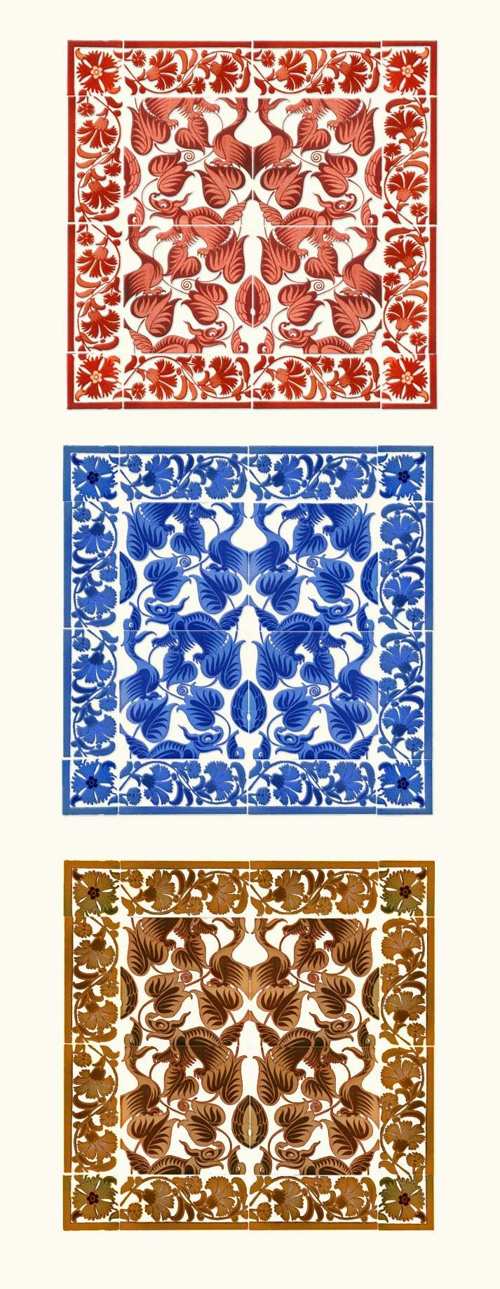 William De Morgan Happy Dragons - tile panels with floral and folio borders, red lustre, cobalt blue, gold and copper.
