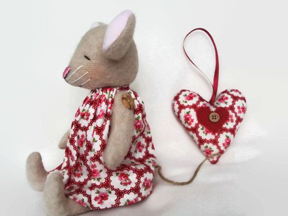 Natural wool mouse with vintage floral dress and matching hanging heart . Can be personalised.