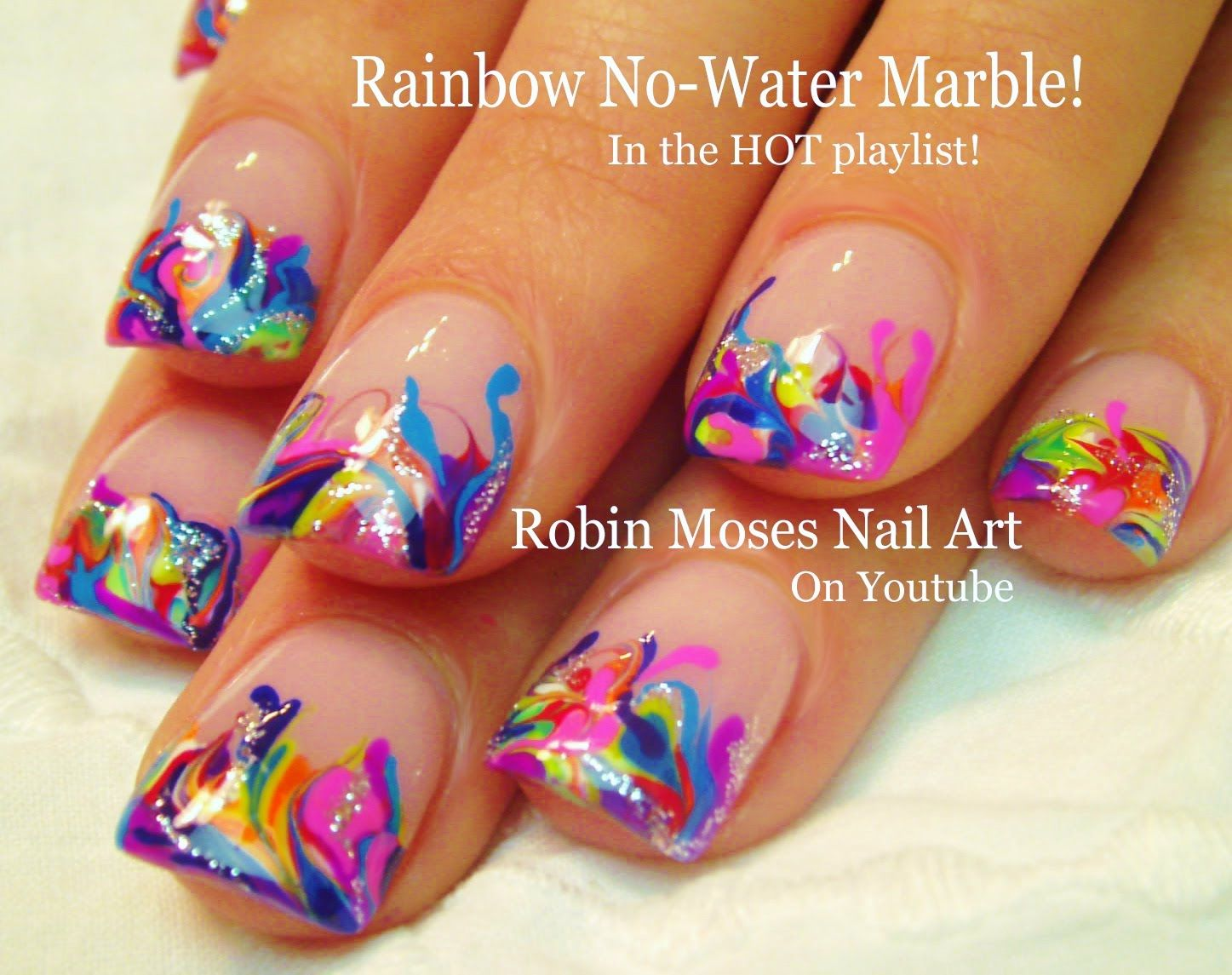 Neon Rainbow Marble Nails No Water Needed Nail Art Tutorial