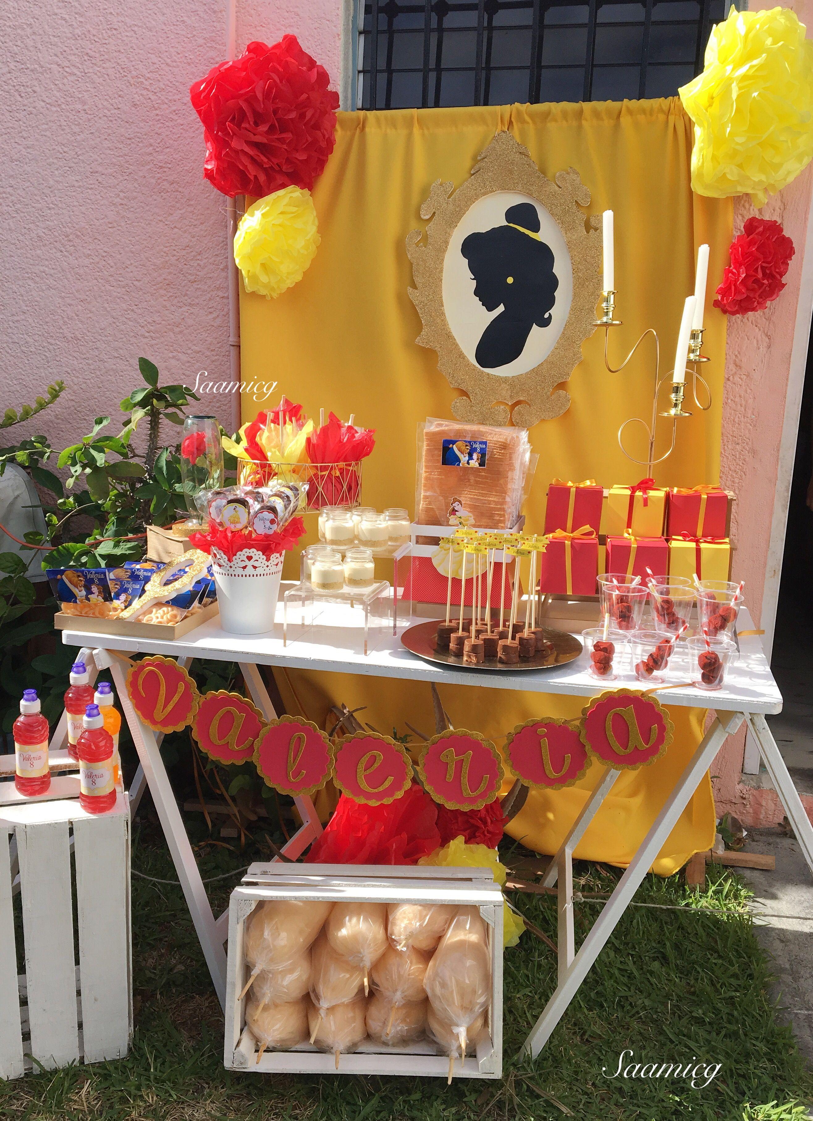 beauty and the beast party idea la bella y la bestia fiesta candy bar created