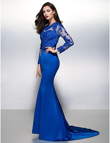 a6b2594f1 Fiesta formal Vestido - Azul Real Corte Sirena Cola Corte - Escote Joya  Encaje Satén 2016 -  2430.81