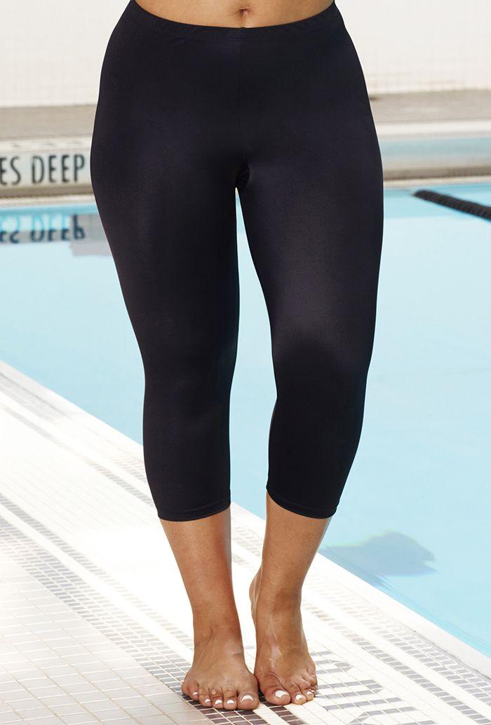 Black Capri Chlorine Resistant Swimwear Plus Size